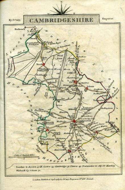 Cambridgeshire County Map by John Cary 1790 - Reproduction